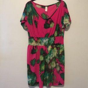 Vfish Short-sleeved Floral Party Dress Hot Pink L